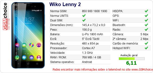 Wiko Lenny 2 Especificações técnicas do telemóvel