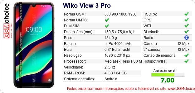 Wiko View 3 Pro Especificações técnicas do telemóvel
