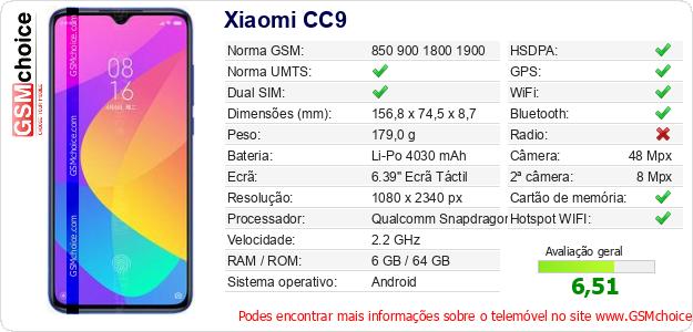 Xiaomi CC9 Especificações técnicas do telemóvel