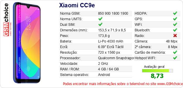 Xiaomi CC9e Especificações técnicas do telemóvel