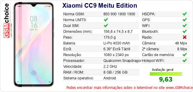 Xiaomi CC9 Meitu Edition Especificações técnicas do telemóvel