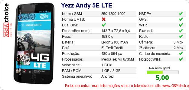 Yezz Andy 5E LTE Especificações técnicas do telemóvel