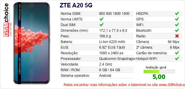 ZTE A20 5G Especificações técnicas do telemóvel