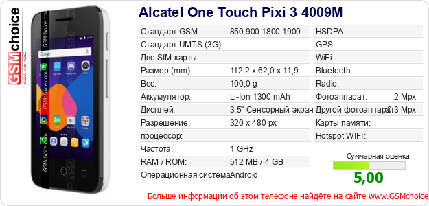 Alcatel One Touch Pixi 3 4009M Технические данные телефона