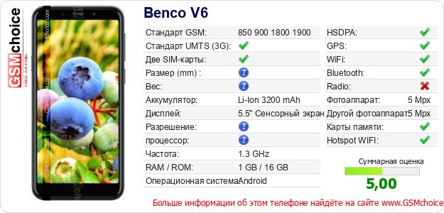 Benco V6 Технические данные телефона
