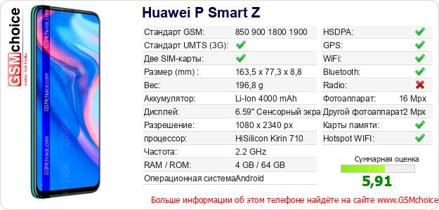 Huawei P Smart Z Технические данные телефона