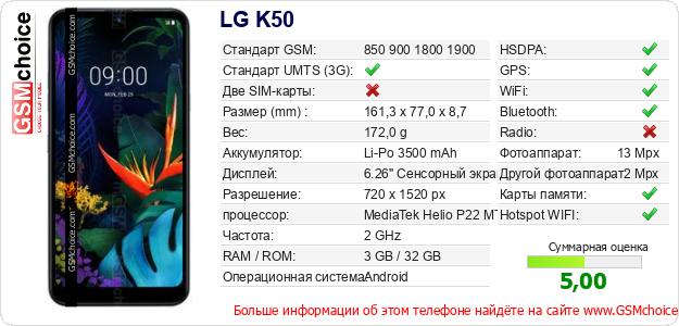 LG K50 Технические данные телефона