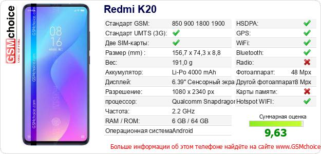 Redmi K20 Технические данные телефона