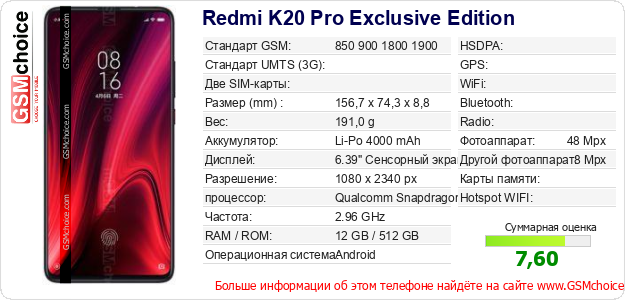 Redmi K20 Pro Exclusive Edition Технические данные телефона
