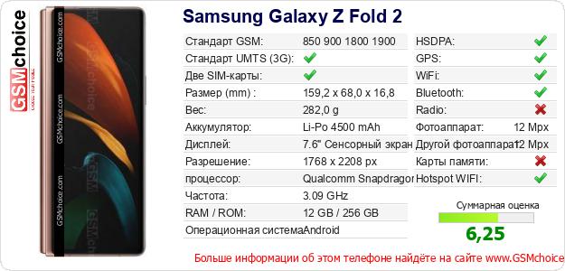 Samsung Galaxy Z Fold 2 Технические данные телефона
