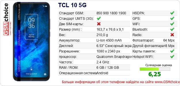 TCL 10 5G Технические данные телефона