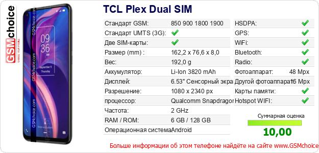 TCL Plex Dual SIM Технические данные телефона
