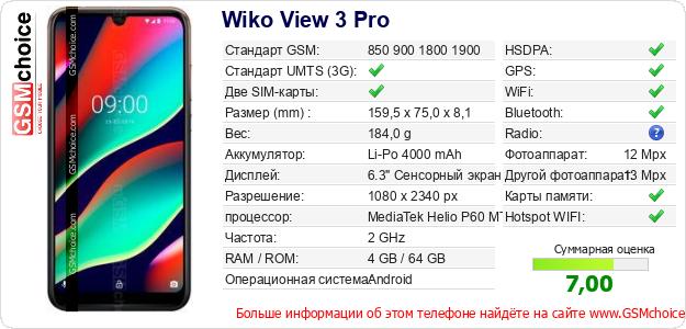 Wiko View 3 Pro Технические данные телефона