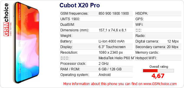 Cubot X20 Pro 手机技术数据