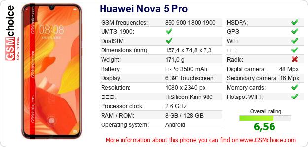 Huawei Nova 5 Pro 手机技术数据