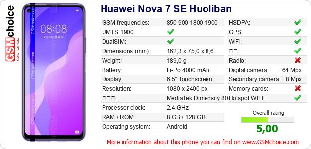 Huawei Nova 7 SE Huoliban 手机技术数据