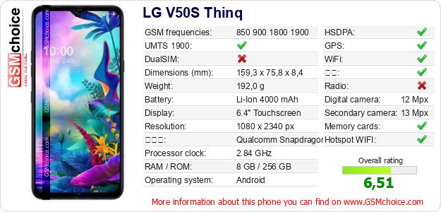 LG V50S Thinq 手机技术数据
