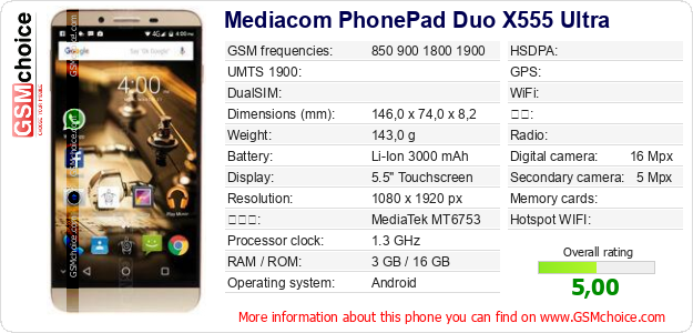 Mediacom PhonePad Duo X555 Ultra 手机技术数据