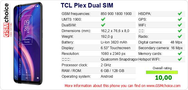 TCL Plex Dual SIM 手机技术数据