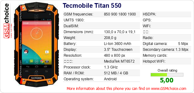 Tecmobile Titan 550 手机技术数据