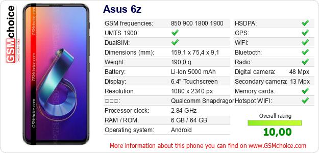 Asus 6z 手機技術數據