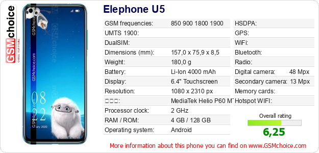 Elephone U5 手機技術數據