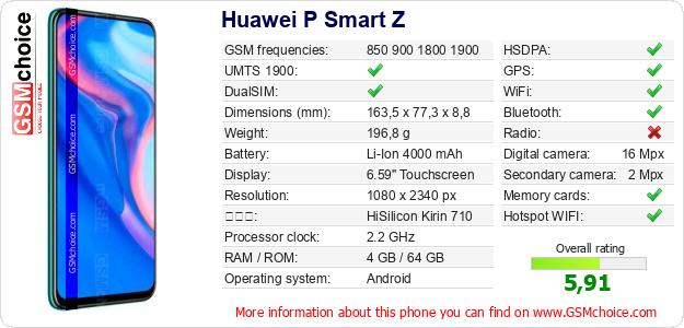 Huawei P Smart Z 手機技術數據