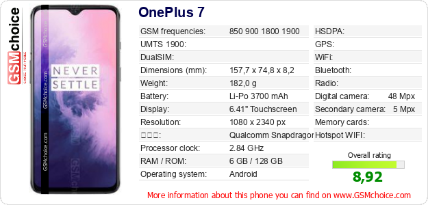 OnePlus 7 手機技術數據