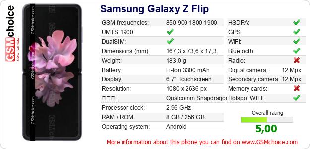 Samsung Galaxy Z Flip 手機技術數據