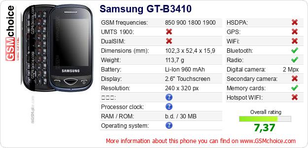Samsung GT-B3410 手機技術數據